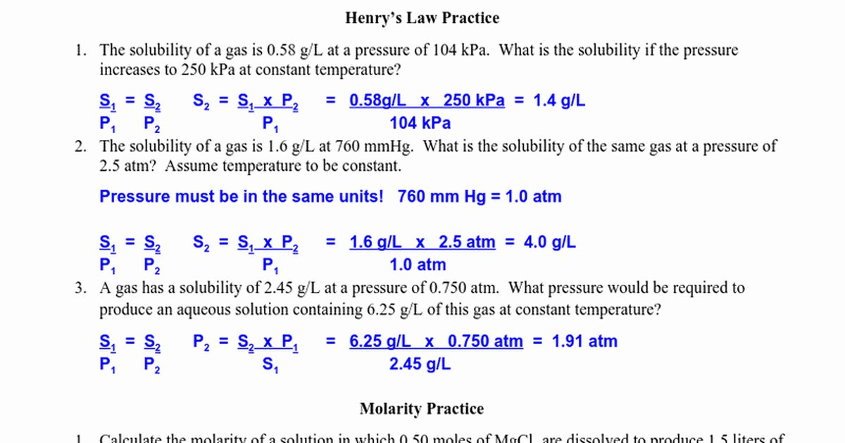Molarity Practice Worksheet Answer Unique Molarity Practice Worksheet Answers