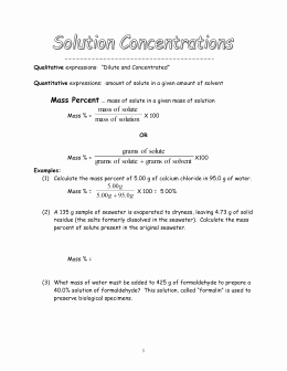 Molarity Worksheet Answer Key Awesome Molarity Problems Worksheet