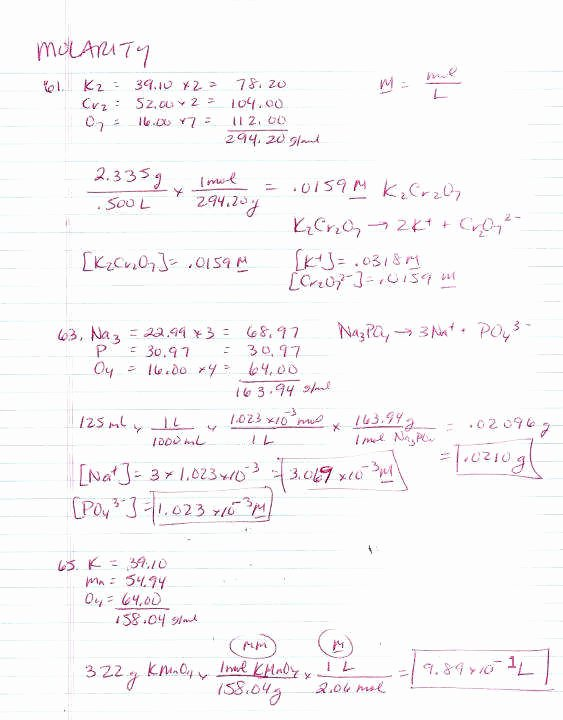 Molarity Worksheet Answer Key Beautiful Molarity Problems Worksheet