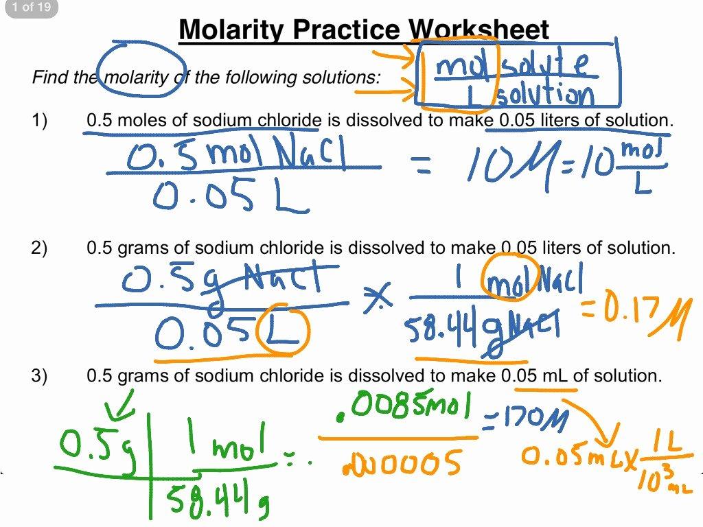 Molarity Worksheet Answer Key Elegant Molarity Practice Worksheet 1 3
