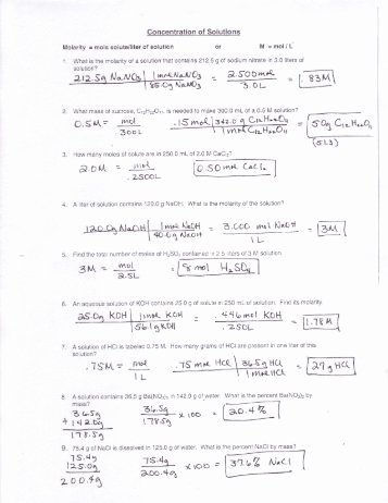 Molarity Worksheet Answer Key Fresh Molarity