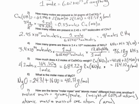 Molarity Worksheet Answer Key Inspirational Moles Worksheet 2
