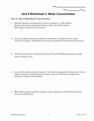 Molarity Worksheet Answer Key Lovely Molarity Practice Worksheet