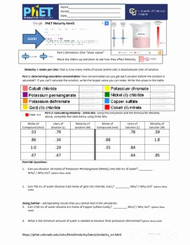 Molarity Worksheet Answer Key New Answer Key Video for Worksheet Molarity Science Answer