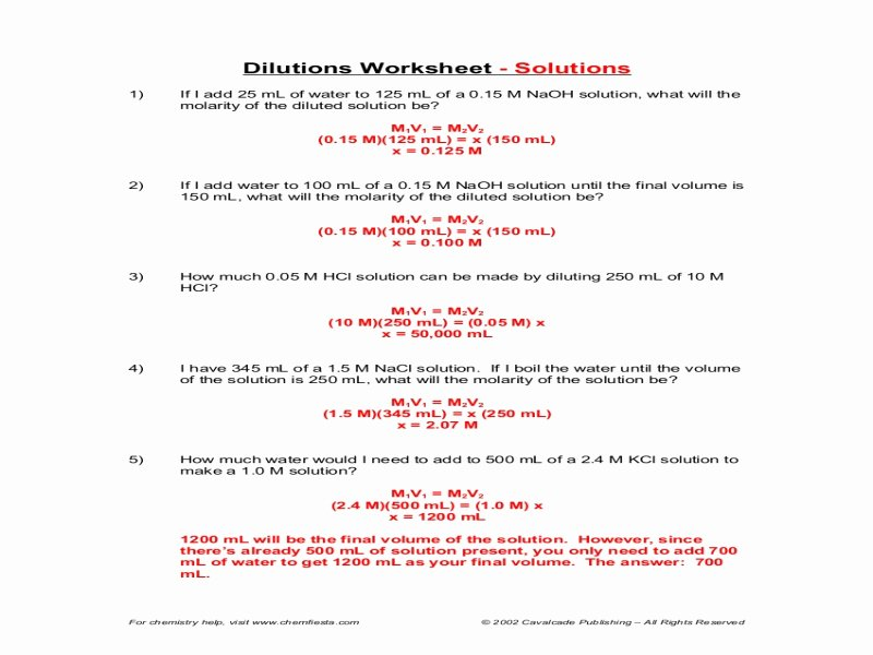 Molarity Worksheet Answer Key New Dilutions Worksheet Answers Free Printable Worksheets