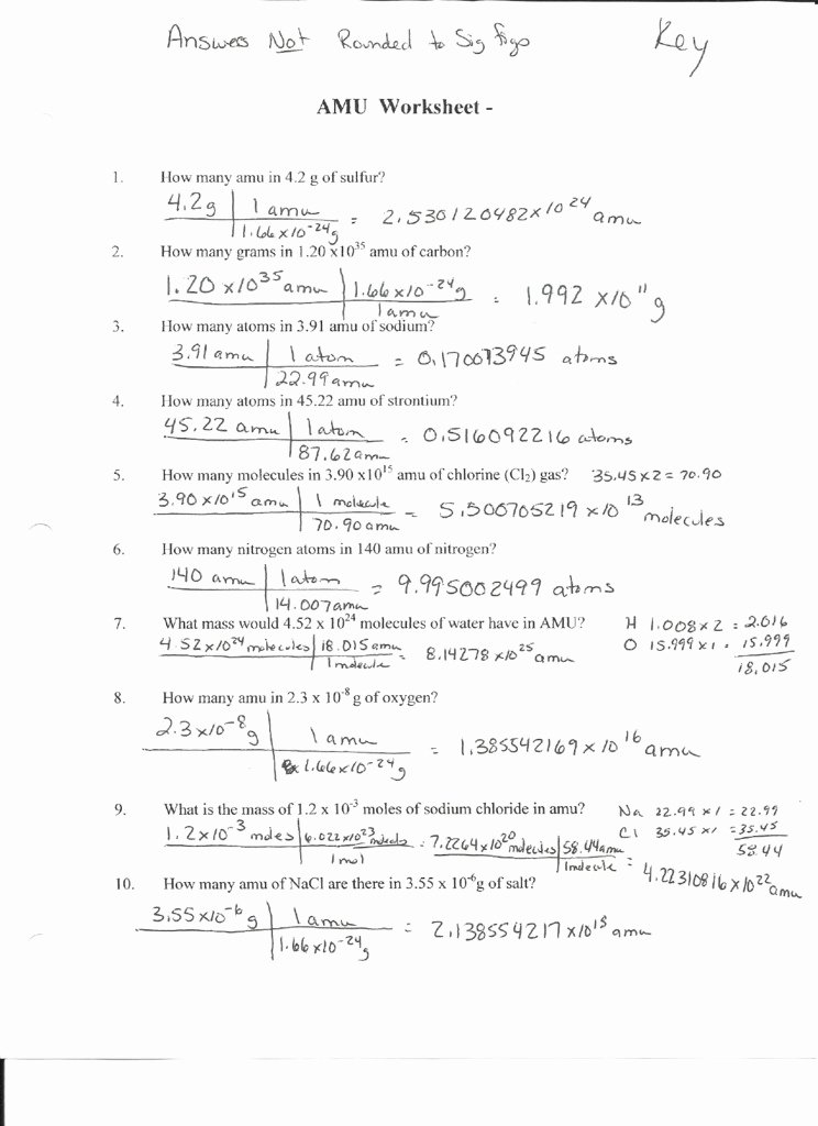 Molarity Worksheet Answer Key Unique Mole Calculation Practice Worksheet