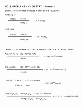 Mole Worksheet #1 New Mole Practice Worksheet 2 by Amy Brown Science