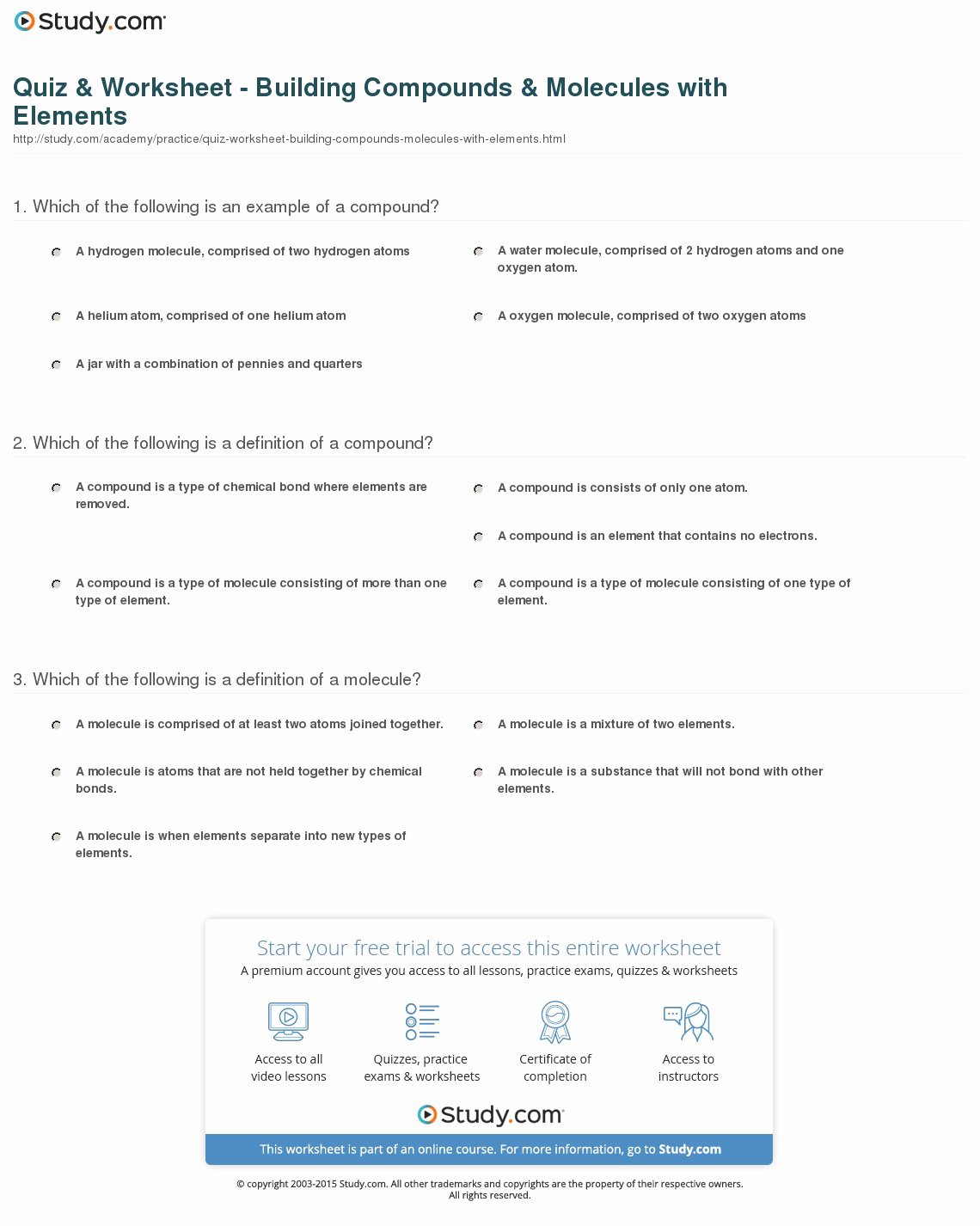 Molecules and Compounds Worksheet Best Of Quiz & Worksheet Building Pounds & Molecules with