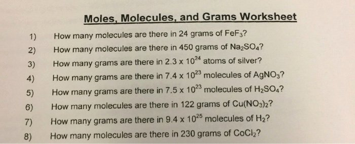 Moles Molecules and Grams Worksheet Awesome solved Moles Molecules and Grams Worksheet 1 How Many