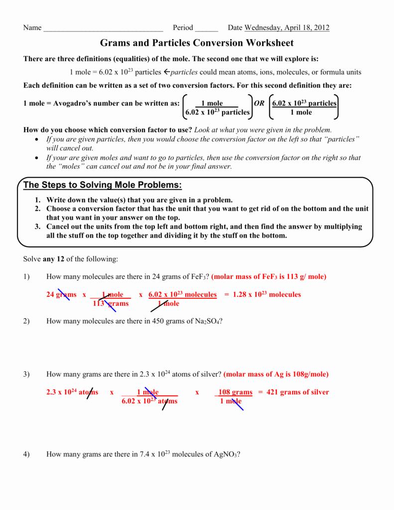 Moles Molecules and Grams Worksheet Best Of Moles Molecules and Grams Worksheet the Best Worksheets