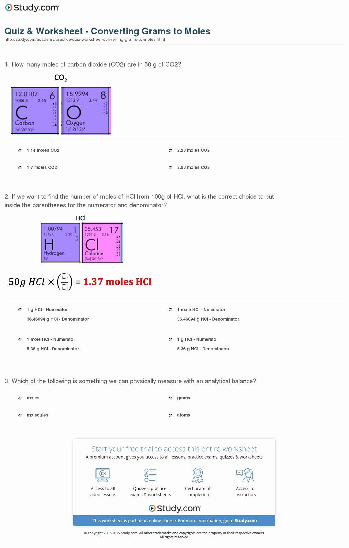 Moles Molecules and Grams Worksheet New Quiz & Worksheet Converting Grams to Moles