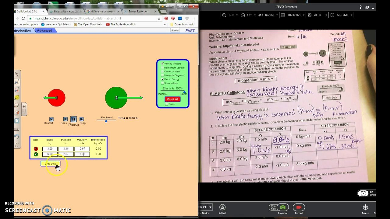 Momentum and Collisions Worksheet Answers Beautiful Internet Lab Explained Momentum and Collisions First Side