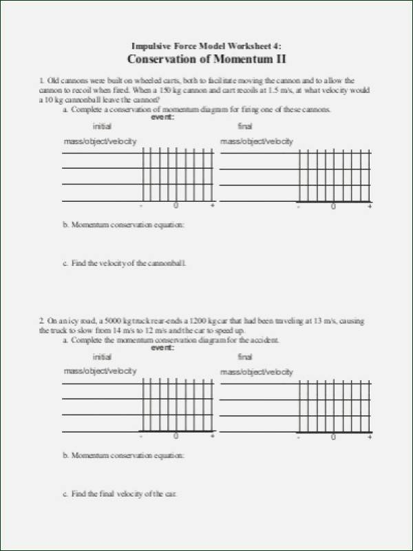 Momentum and Collisions Worksheet Answers Beautiful Momentum and Impulse Worksheet