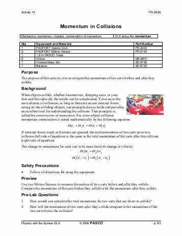Momentum and Collisions Worksheet Answers Best Of Conservation Momentum Worksheet