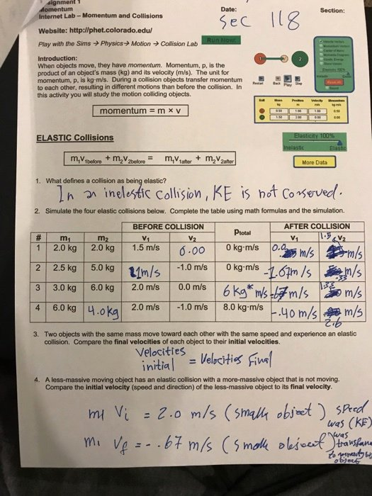 Momentum and Collisions Worksheet Answers Best Of solved Signment Sec 3 Internet Lab Momentum and Collisio