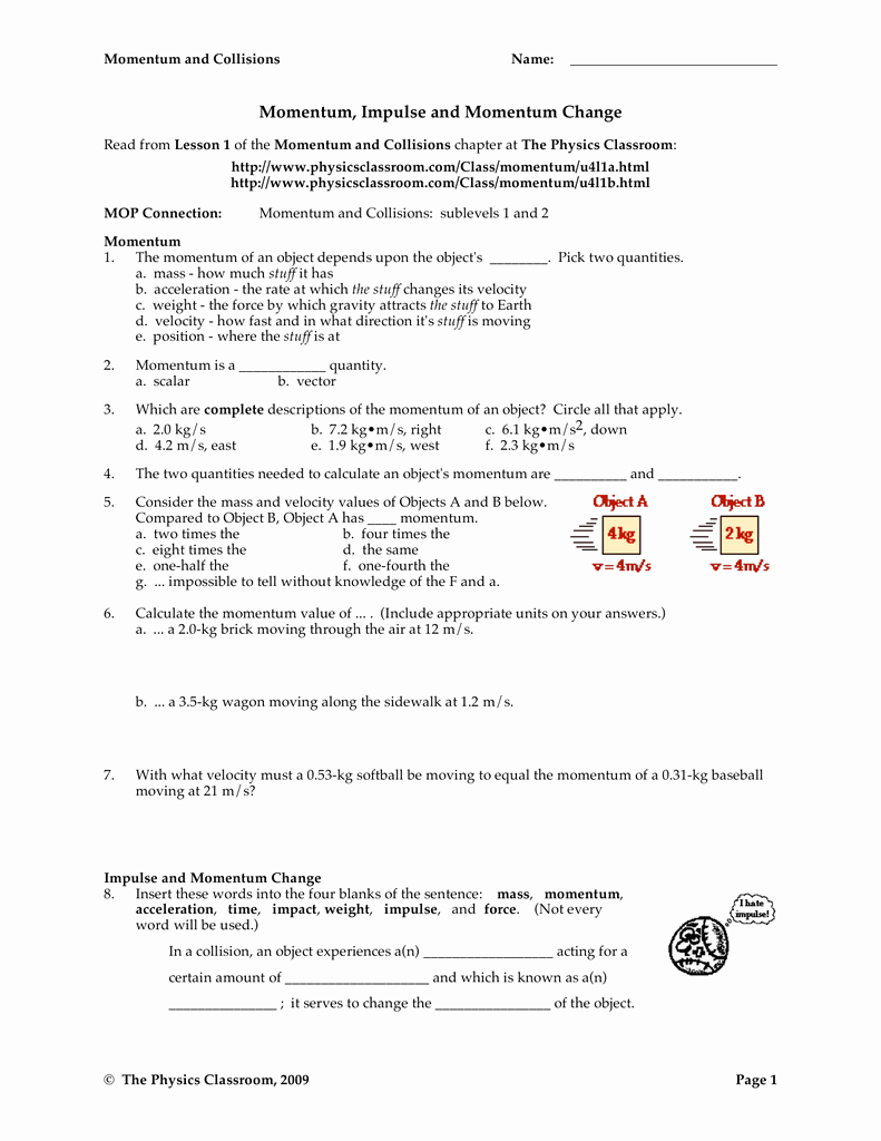 Momentum and Collisions Worksheet Answers Fresh Momentum and Collisions Worksheet Answers Physics