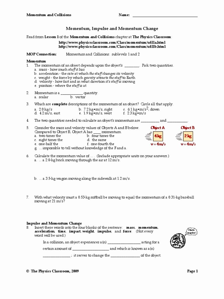 Momentum and Collisions Worksheet Answers Inspirational Momentum Lessons Tes Teach Matelic Image Calculating