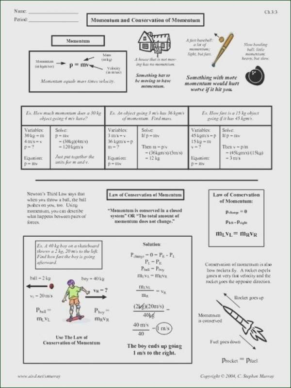 Momentum and Collisions Worksheet Answers Lovely Conservation Momentum Worksheet