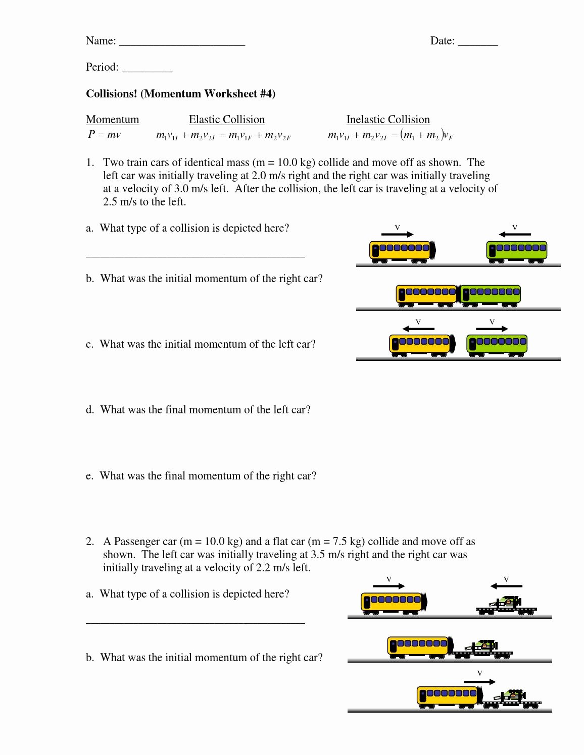 Momentum and Collisions Worksheet Answers Lovely Inelastic Collisions Worksheet Student by Emlyn Majoos issuu