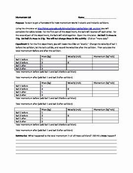 Momentum and Collisions Worksheet Answers Lovely Momentum Lab Simulation Phet Simulator by the Physics