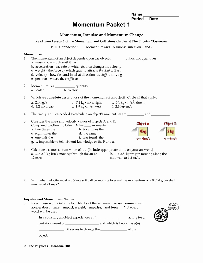 Momentum and Collisions Worksheet Answers New Momentum and Collisions Worksheet Answers Physics