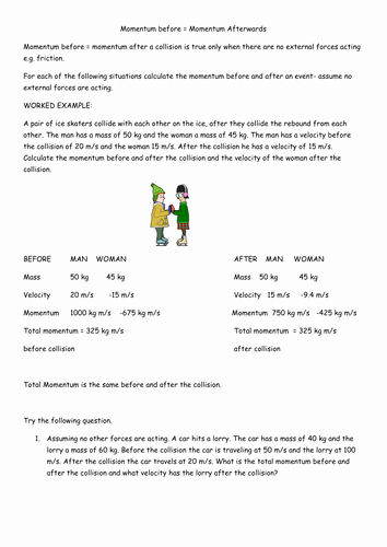 Momentum and Collisions Worksheet Answers Unique Conservation Of Momentum Questions by Uk Teaching