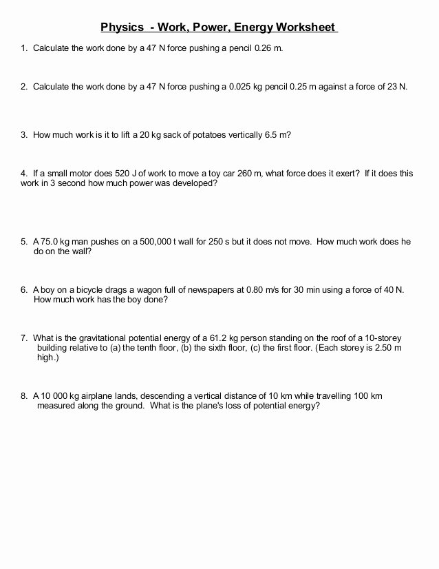 Momentum Worksheet Answer Key Best Of Worksheet More Simple Work and Energy Problems