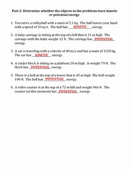 Momentum Worksheet Answer Key Inspirational Worksheet Kinetic Vs Potential Energy by Travis Terry
