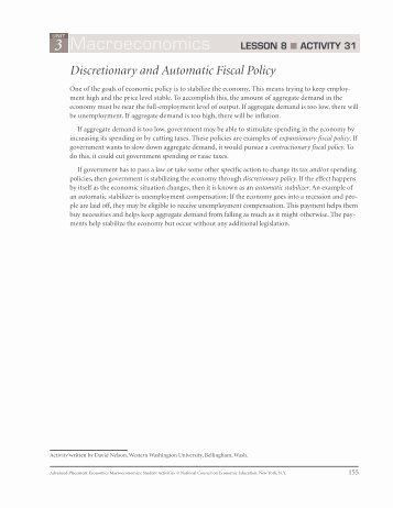 Monetary Policy Worksheet Answers Beautiful Fiscal Policy Worksheet 2 with Answers Pdf