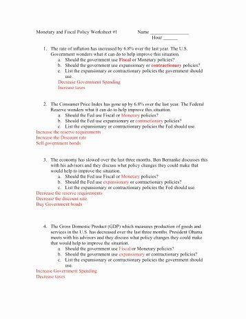 Monetary Policy Worksheet Answers Beautiful Monetary and Fiscal Policy Worksheet 4 Moon Valley High