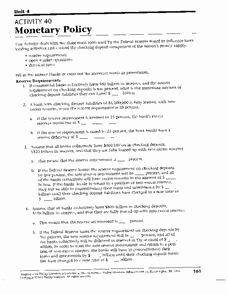 Monetary Policy Worksheet Answers Beautiful Monetary Policy Lesson Plans & Worksheets