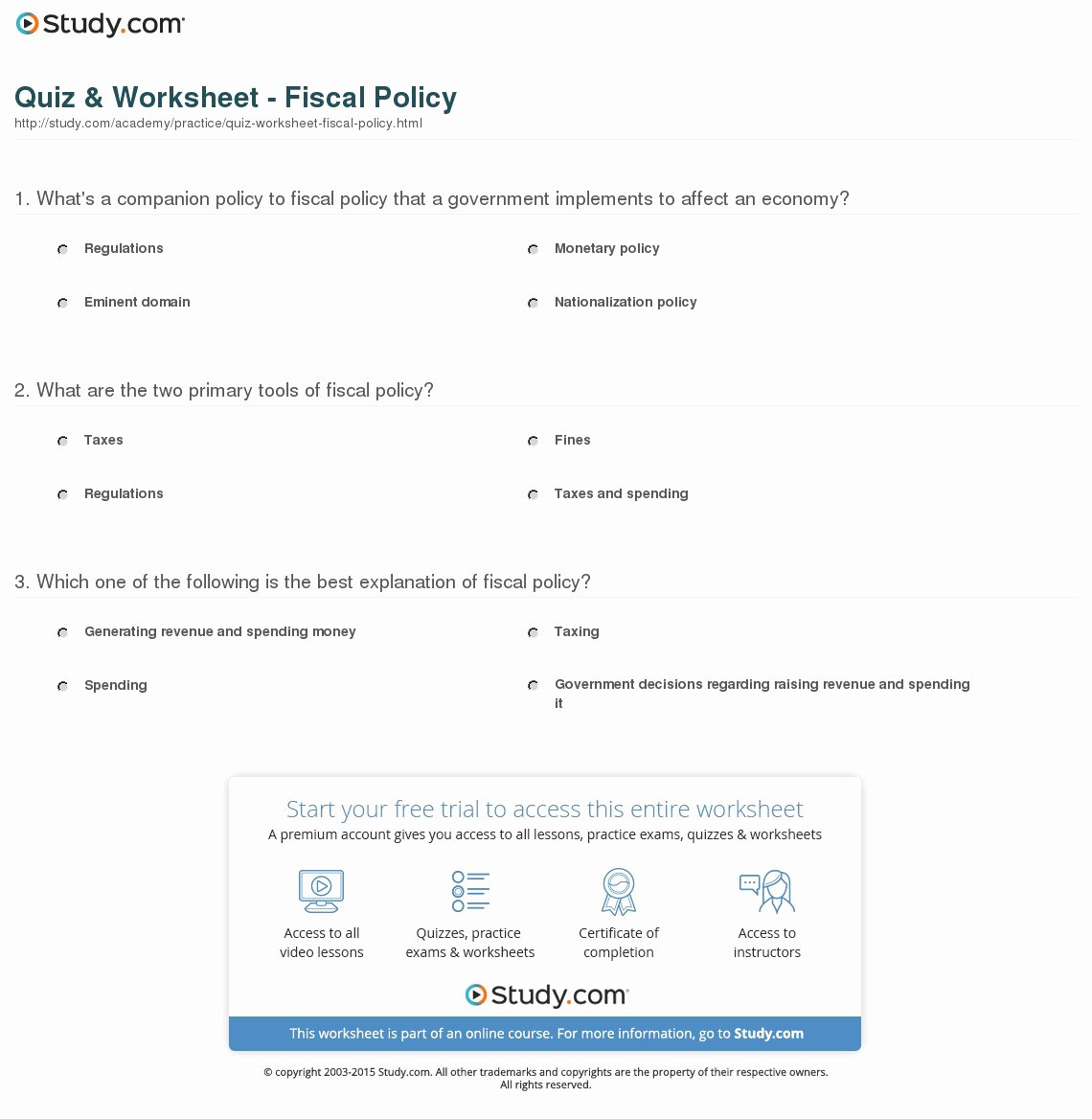 Monetary Policy Worksheet Answers Elegant Quiz & Worksheet Fiscal Policy
