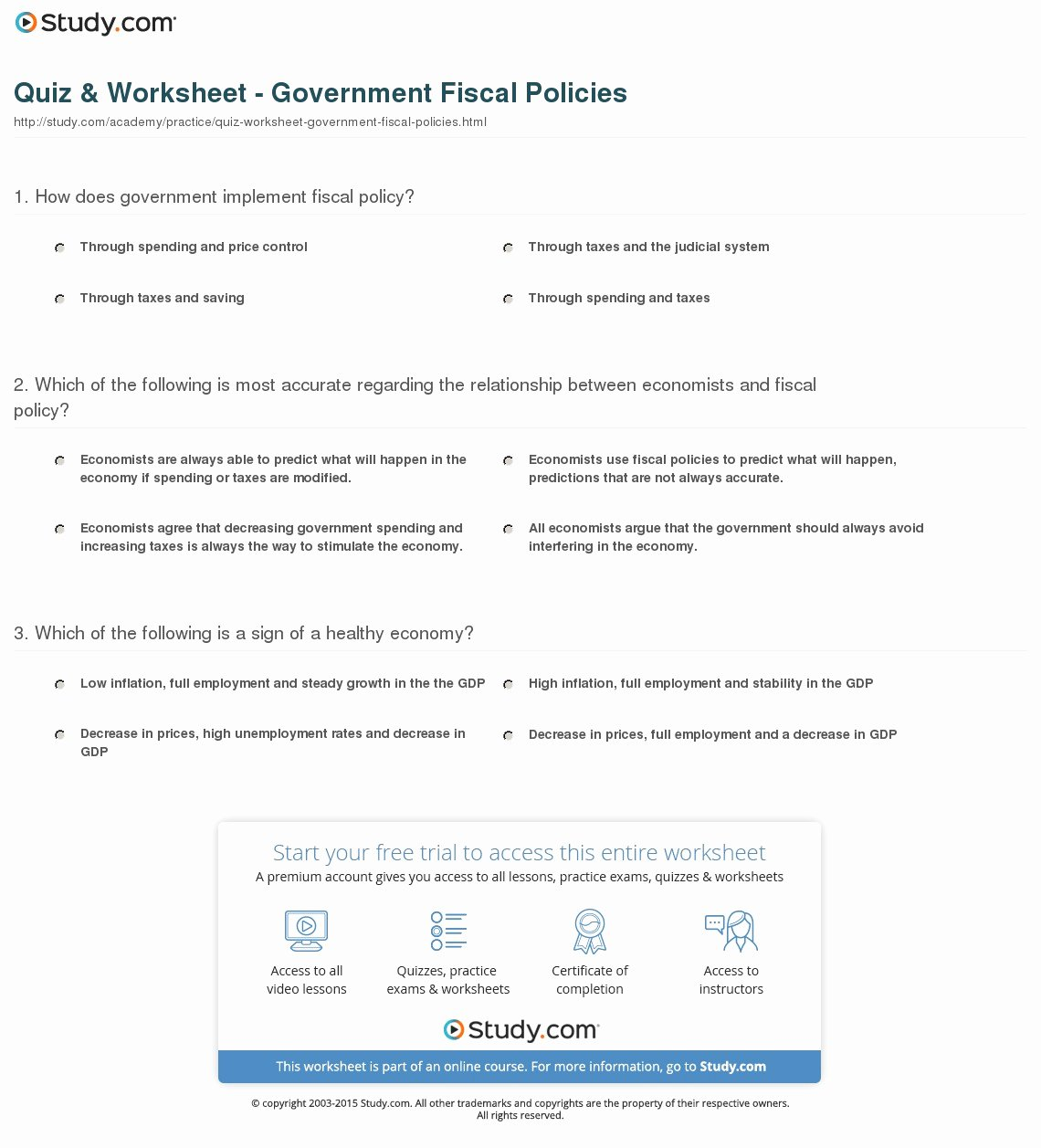 Monetary Policy Worksheet Answers Elegant Quiz & Worksheet Government Fiscal Policies