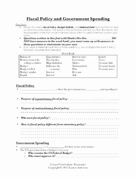 Monetary Policy Worksheet Answers Luxury Fiscal Policy Instructional Videos Guided Notes and