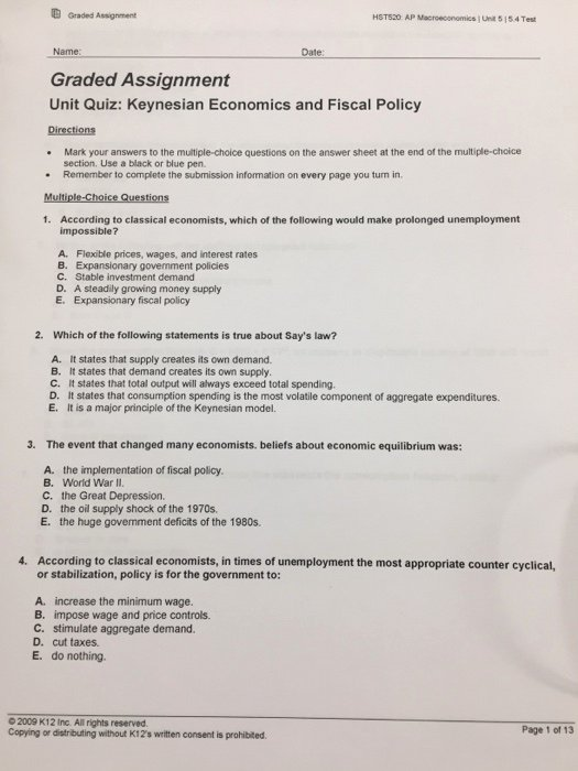 Monetary Policy Worksheet Answers Luxury solved G Graded assignment Macroeconomics Une 5154 Test N