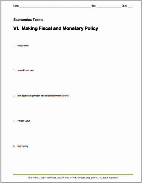 Monetary Policy Worksheet Answers New Fiscal and Monetary Policy Terms Worksheet