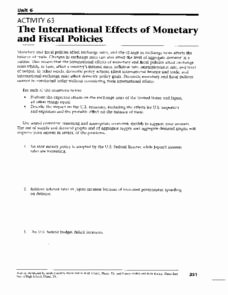 Monetary Policy Worksheet Answers Unique Aggregate Supply and Demand Lesson Plans & Worksheets