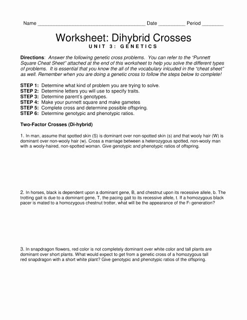 Monohybrid Cross Practice Problems Worksheet Awesome Worksheet Dihybrid Crosses Triton Science