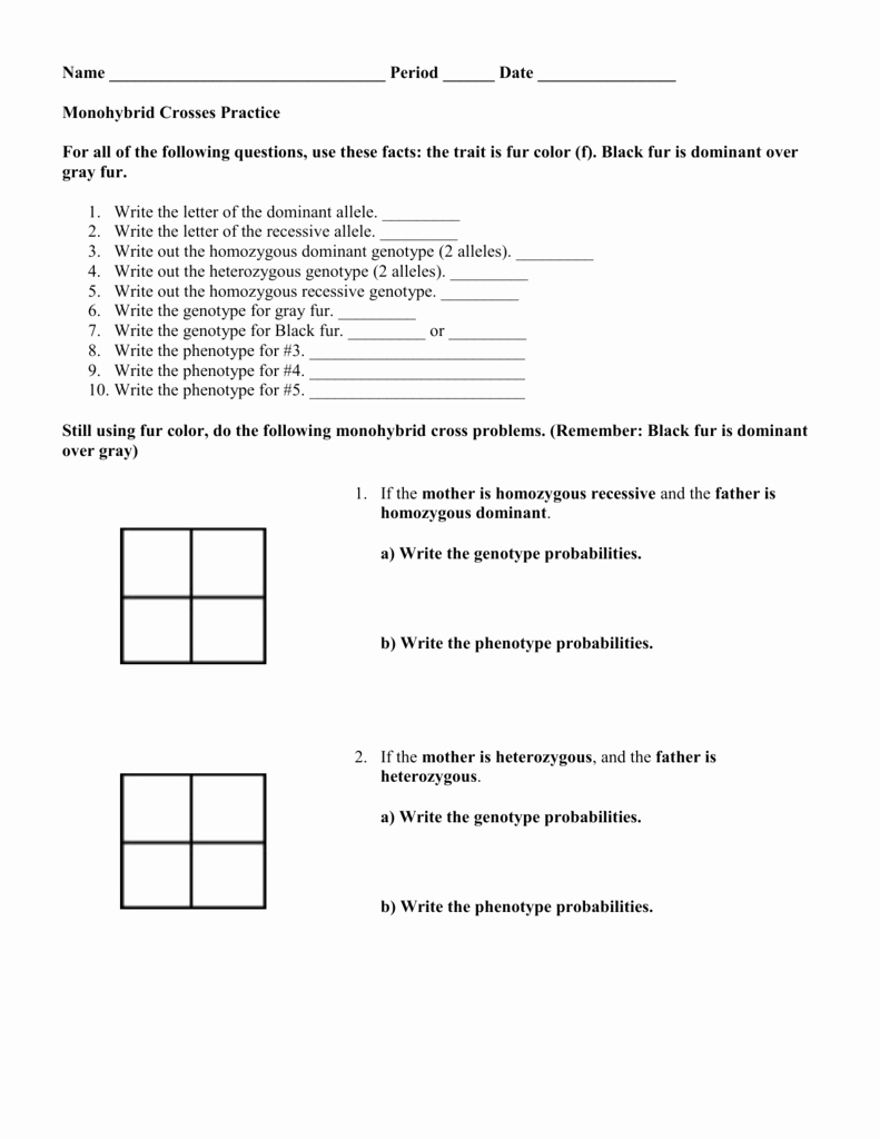 Monohybrid Cross Practice Problems Worksheet Luxury Monohybrid Crosses Practice