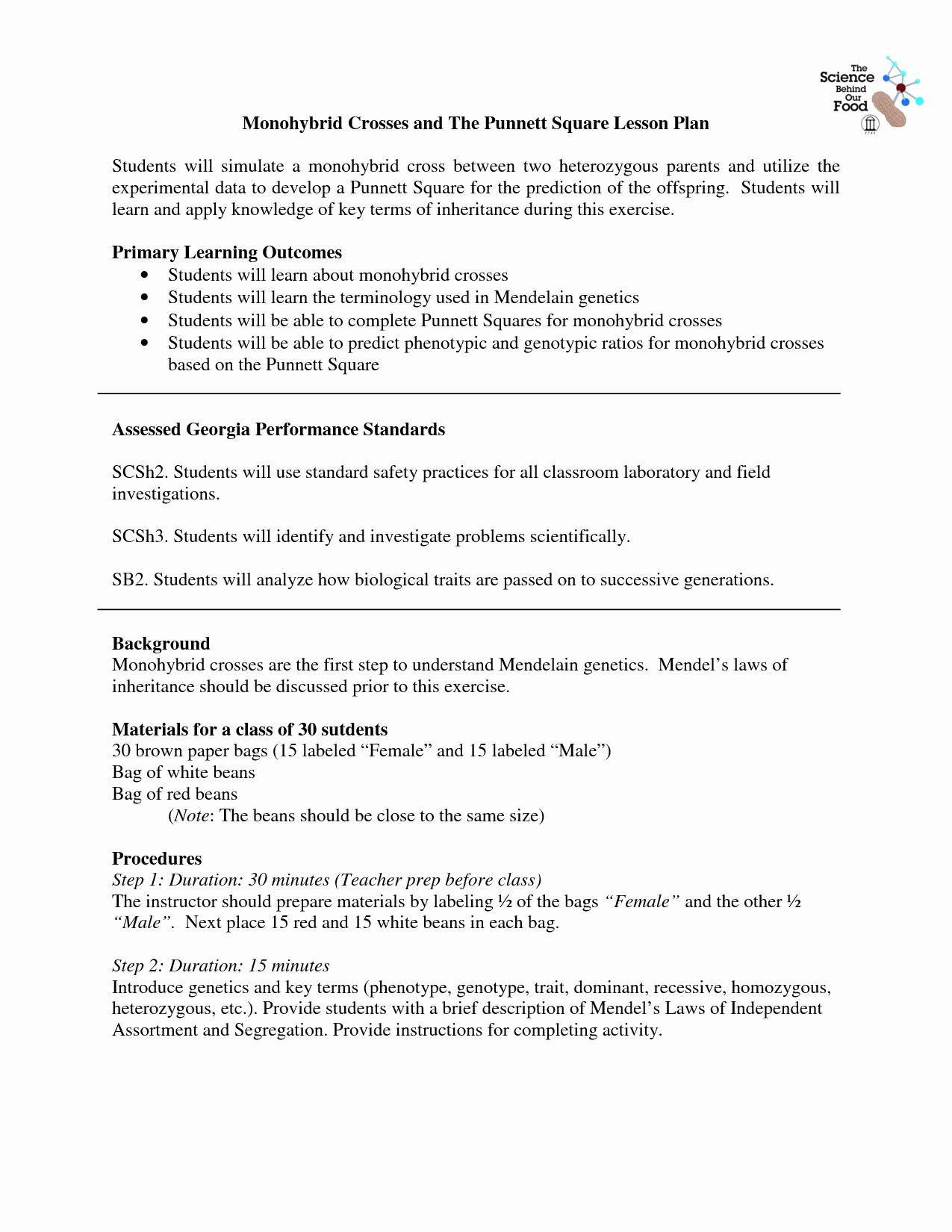 Monohybrid Cross Worksheet Answers Best Of 14 Best Of Monohybrid Cross Worksheet Answer Key