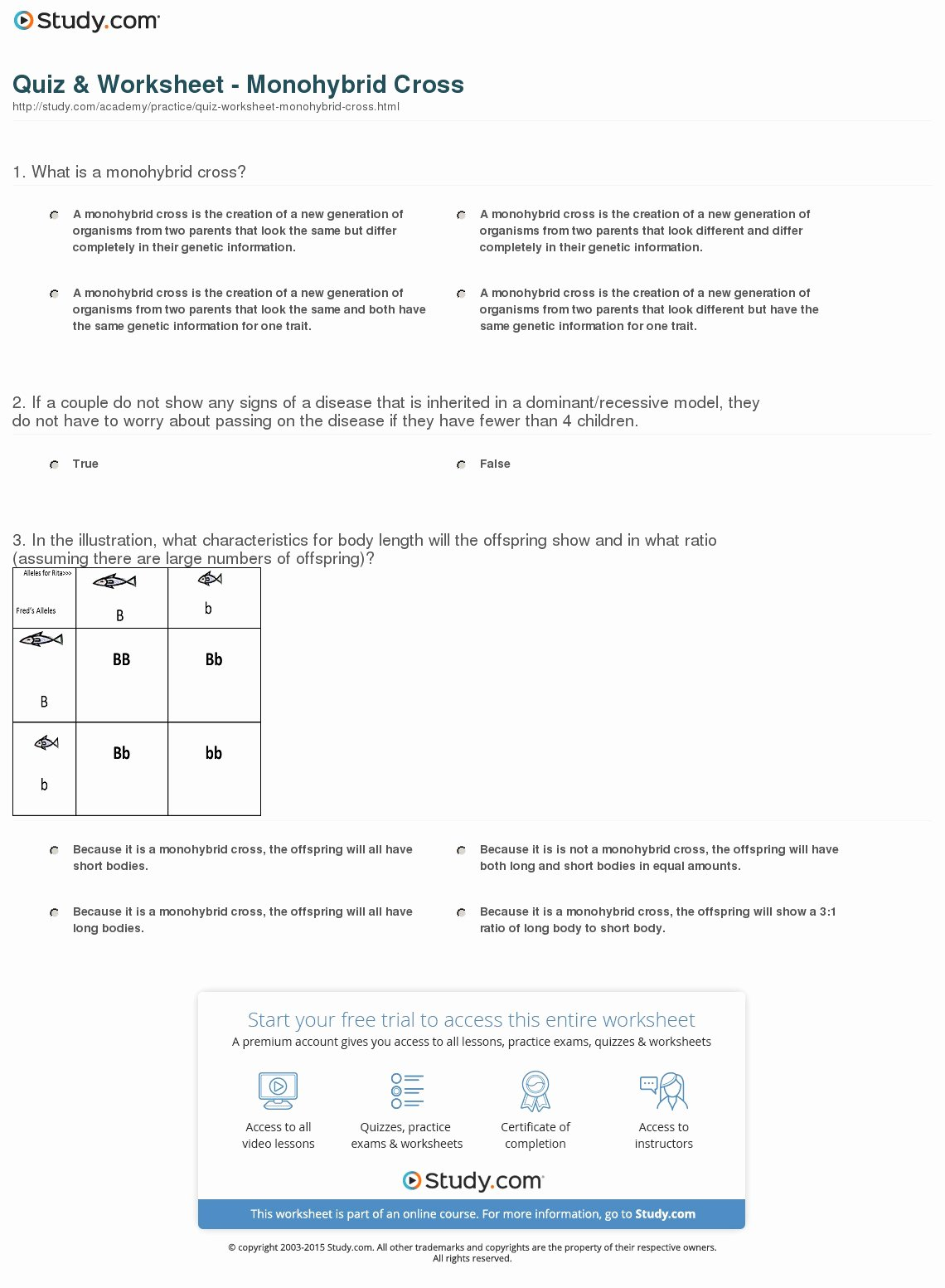 Monohybrid Cross Worksheet Answers Unique Quiz & Worksheet Monohybrid Cross