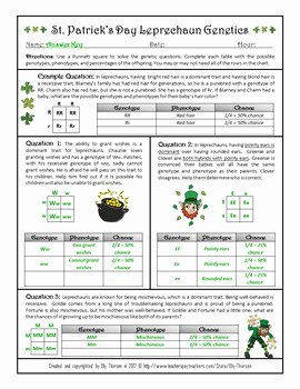 Monohybrid Crosses Worksheet Answers Fresh St Patrick S Day Monohybrid Crosses Punnett Square