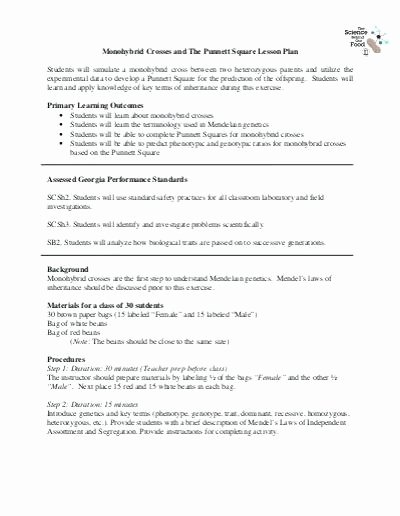 Monohybrid Crosses Worksheet Answers Inspirational Monohybrid Crosses Worksheets