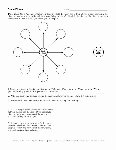 Moon Phases Worksheet Answers Best Of Moon Phases Worksheet for 7th 10th Grade