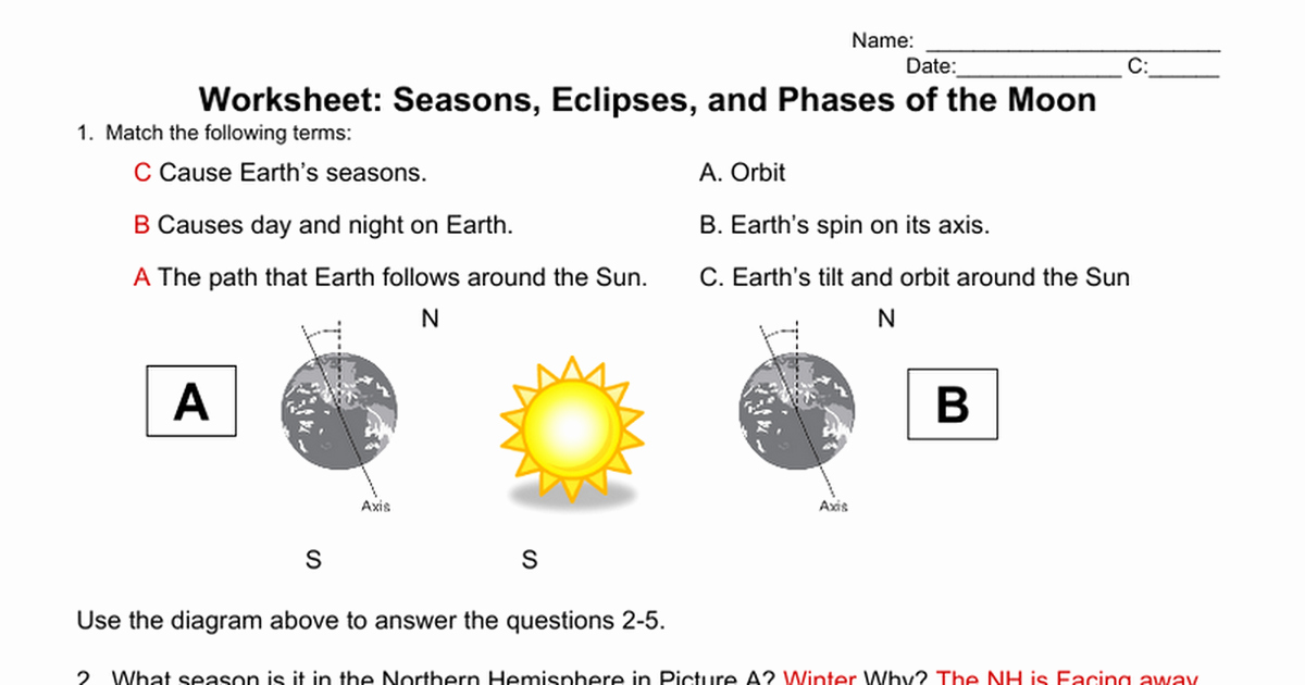 Moon Phases Worksheet Answers Elegant Worksheet Seasons Eclipses & Phases Of the Moon Answers