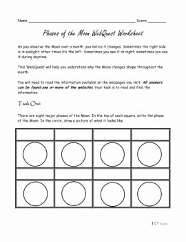 Moon Phases Worksheet Answers Inspirational Phases the Moon Webquest Worksheet Answer Key