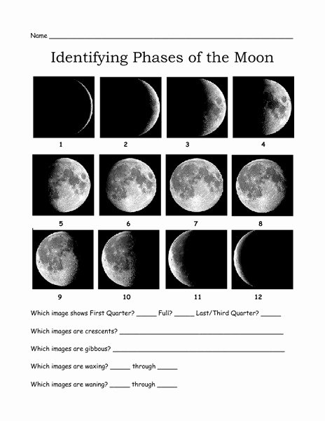 Moon Phases Worksheet Answers Unique Wax Wane F Collection