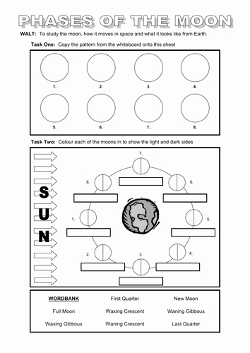 Moon Phases Worksheet Pdf Best Of Powerpoint and Worksheet On the Moon by Dazayling