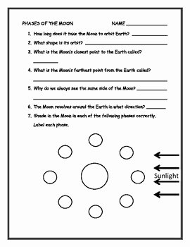 Moon Phases Worksheet Pdf Lovely Phases Of the Moon Worksheet by Annette Hoover