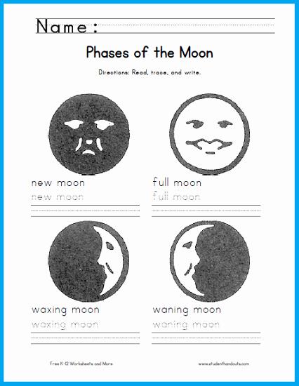 Moon Phases Worksheet Pdf New Moon Phases Handwriting Worksheet